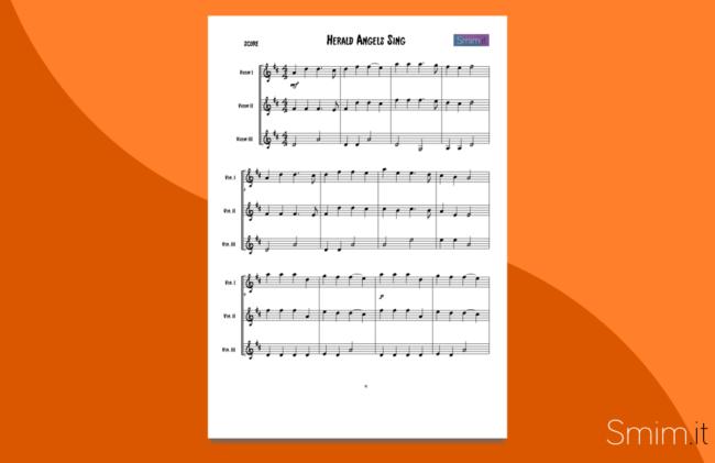 herald angels sing | spartito gratis per trio di violini
