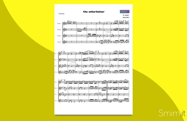 the entertainer | spartito gratis per ensemble di flauti