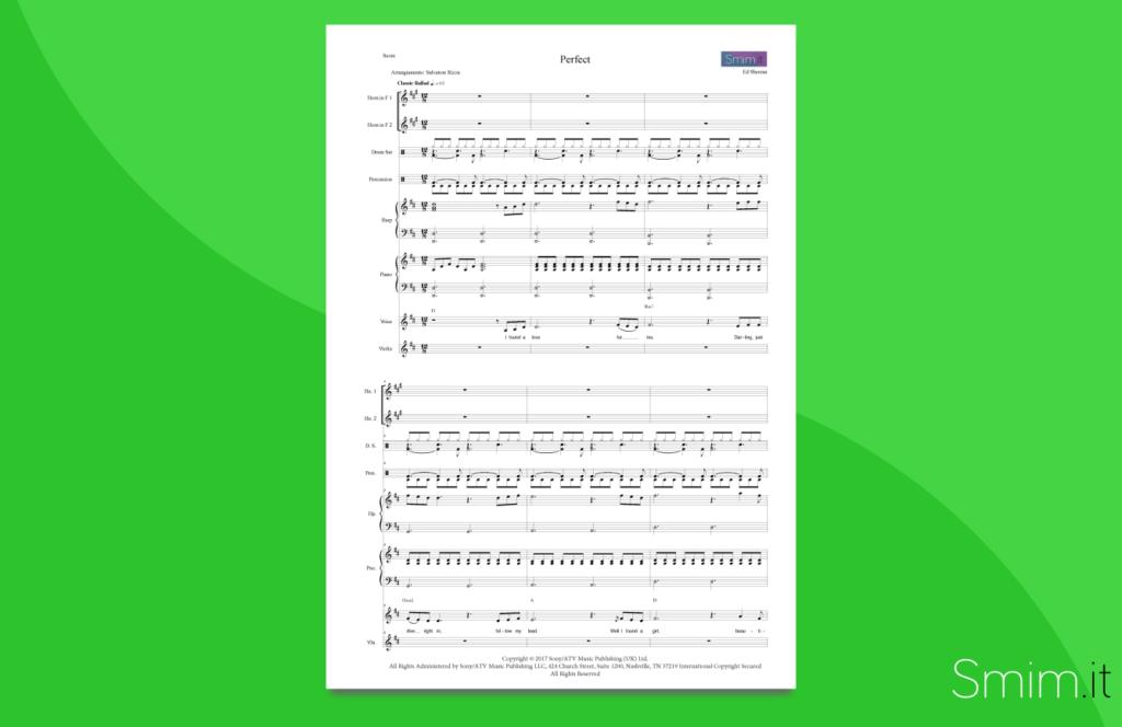 perfect, di ed sheeran | partitura per orchestra scolastica