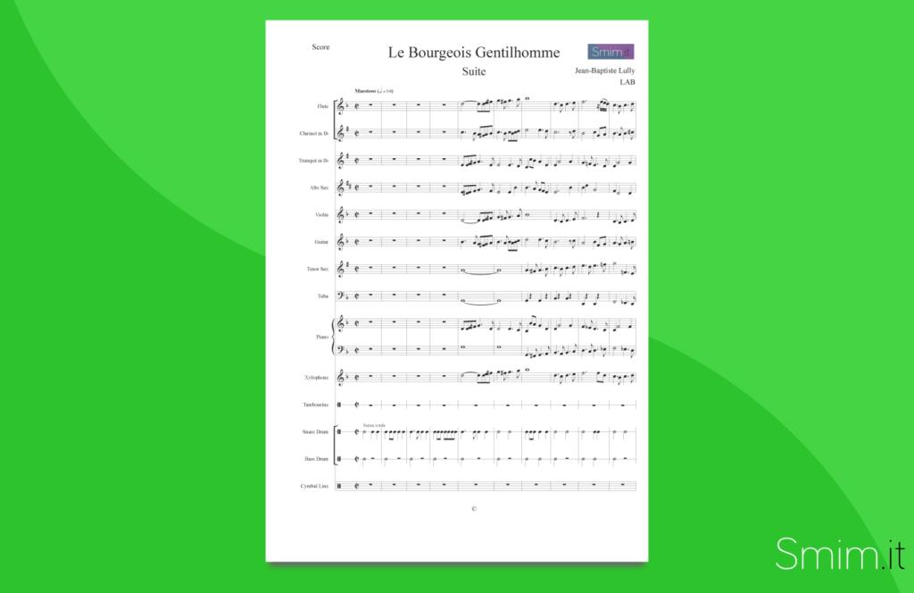il borghese gentiluomo, di lully | partitura gratis per orchestra scolastica