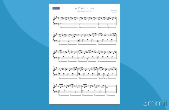 al chiaro di luna di beethoven | spartito gratis per pianoforte facile
