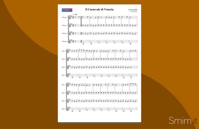 il carnevale di venezia | spartito gratis per quartetto di chitarre