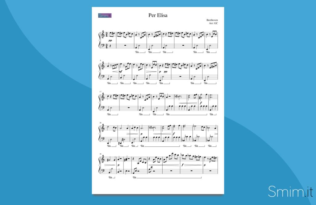 Per Elisa   spartito gratis per pianoforte facile