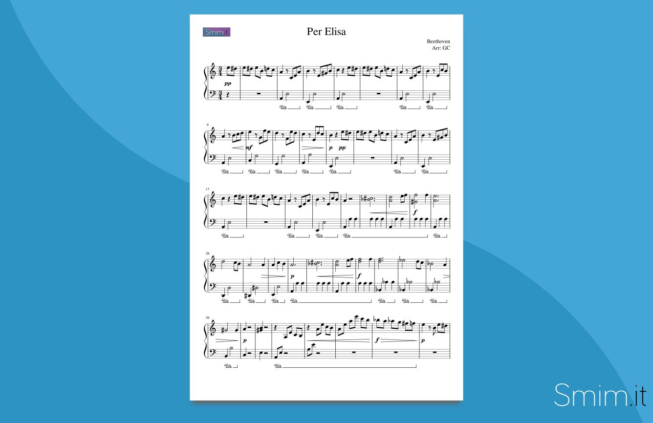 Per Elisa | spartito gratis per pianoforte facile