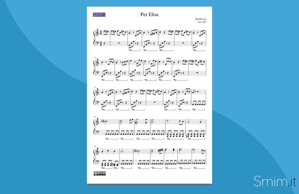 per elisa | spartito gratis per pianoforte