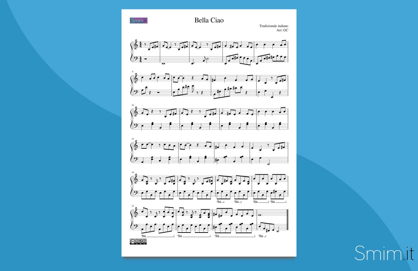 bella ciao   spartito gratis per pianoforte facile