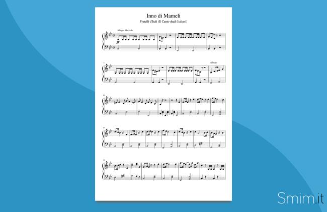 inno di mameli | spartito gratis per pianoforte facile
