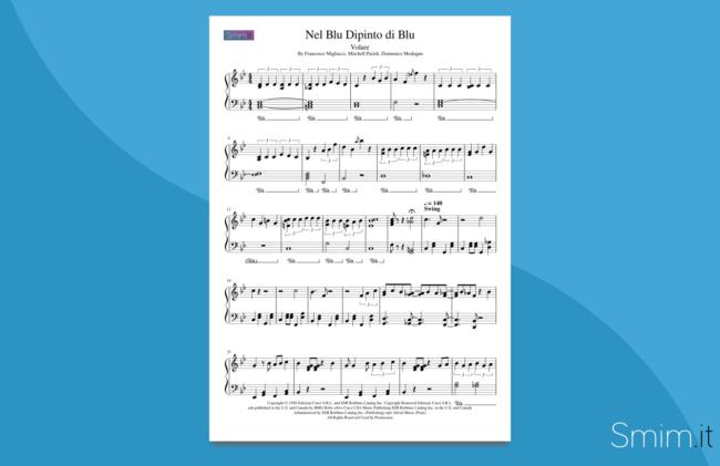 volare (nel blu dipinto di blu) | spartito per pianoforte facile