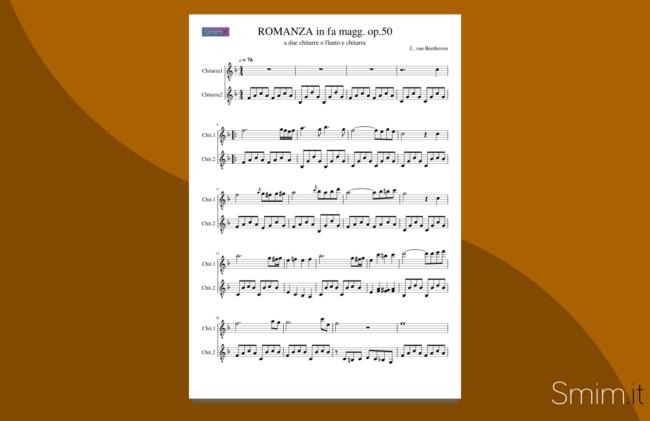 romanza di beethoven | spartito gratis per duetto di chitarre