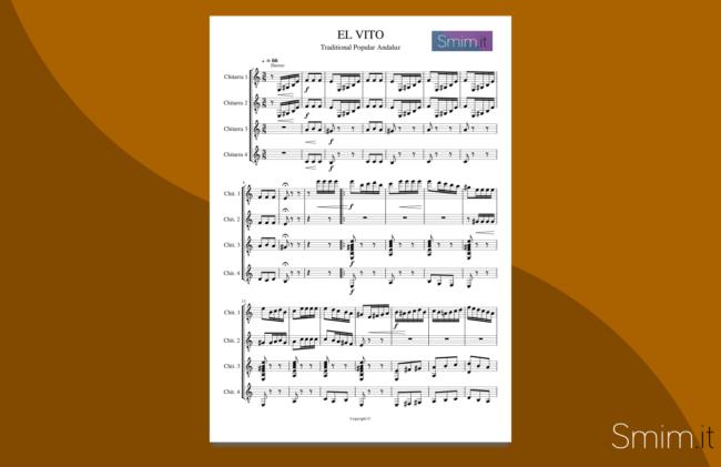 el vito | spartito gratis per quartetto di chitarre