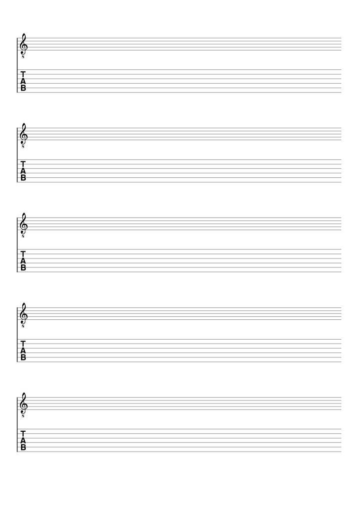 Spartito vuoto chiave di violino + TAB