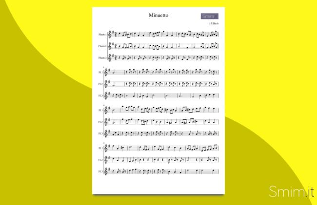 minuetto in sol maggiore di bach | spartito gratis per trio di flauti