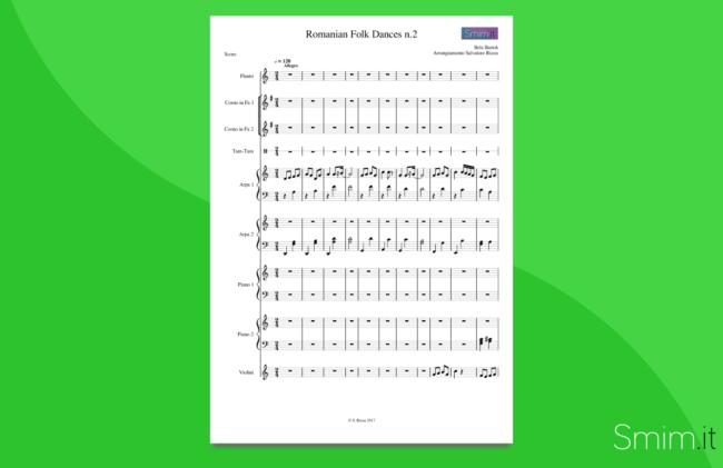bartok: danze popolari rumene | partitura gratis per orchestra scolastica