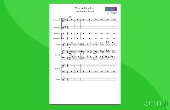 schumann - marcia dei soldati | partitura gratis per orchestra scolastica