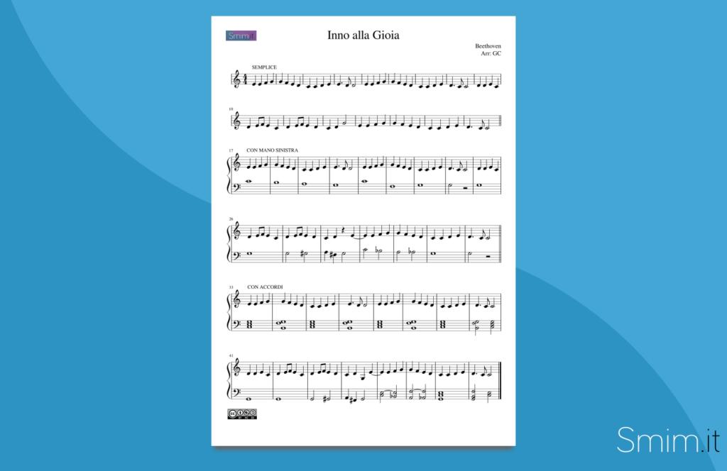inno alla gioia | spartito gratis per pianoforte facile