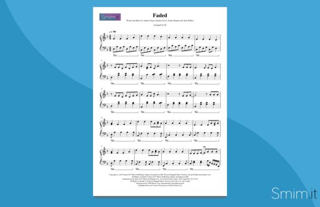 faded | spartito per pianoforte solo