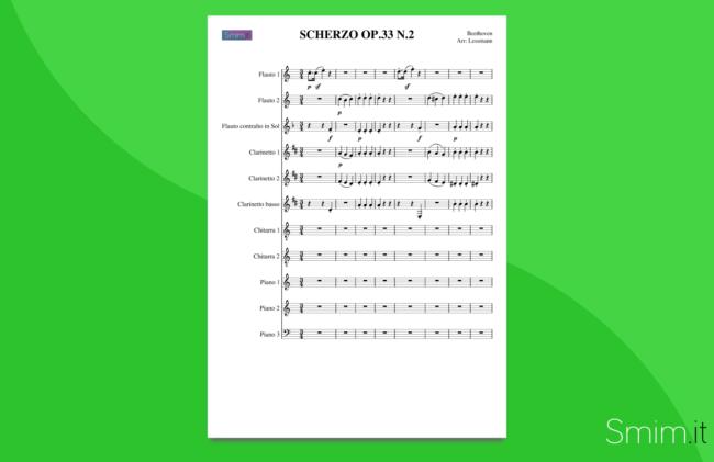 beethoven: scherzo op.33 n.2 | partitura gratis per orchestra scolastica