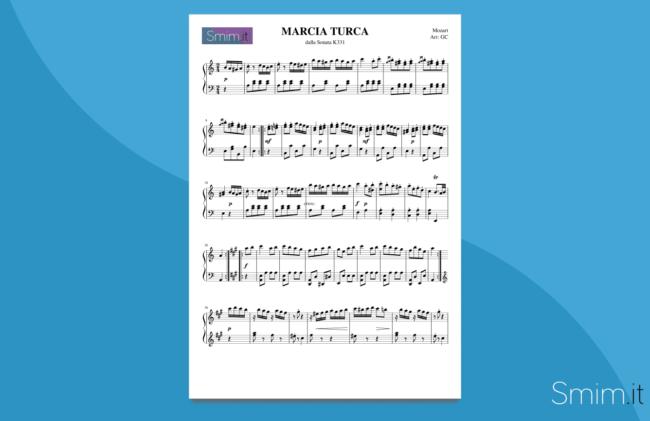 marcia turca di mozart (rondò alla turca) | spartito gratis per pianoforte