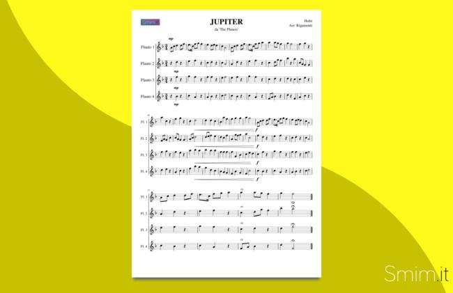 holst - jupiter | spartito gratis per quartetti di flauti