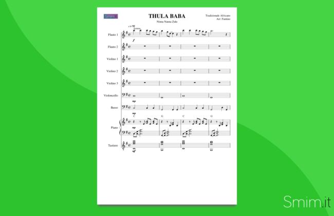 thula baba, ninna nanna africana | partitura gratis per orchestra scolastica