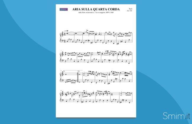 aria sulla quarta corda | spartito gratis per pianoforte