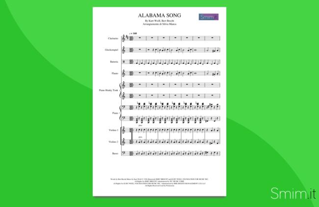 alabama song | partitura per orchestra scolastica