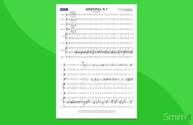 sinfonia n.7 di beethoven | partitura gratis per orchestra scolastica