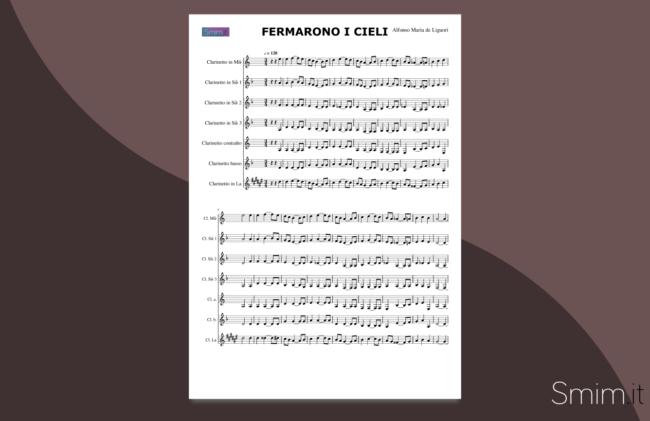 fermarono i cieli | spartito gratis per ensemble di clarinetti