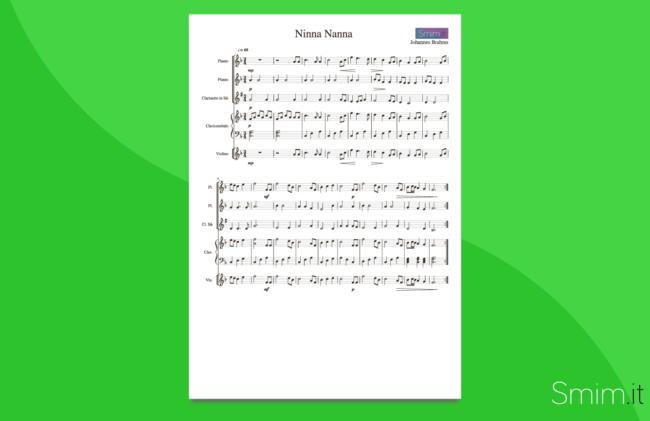 ninna nanna di brahms | partitura gratis per orchestra scolastica