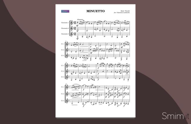 minuetto in sol di bach | spartito gratis per trio di clarinetti