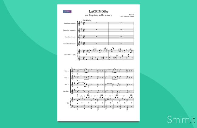 lacrimosa, dal requiem di mozart | spartito gratis per quartetto di sax e pianoforte