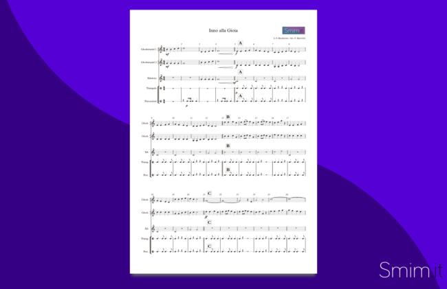 inno alla gioia | spartito gratis per ensemble di percussioni